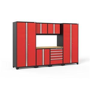 Armoires en acier Pro Series de New Age Products, surface en bambou, 5 tiroirs, capacité de 4400 lb, 7 mcx, rouge