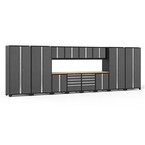 Armoires en acier Pro Series de New Age Products, surface en bambou, 10 tiroirs, capacité de 8800 lb, 14 mcx, gris