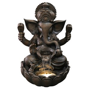 Hi-Line Gift Ganesha Sculptural Fountain with LED lights - 35-in