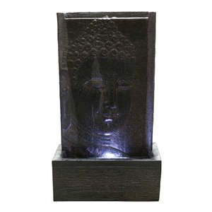 Hi-Line Gift Buddha Wall Fountain with LED Lights - 32-in