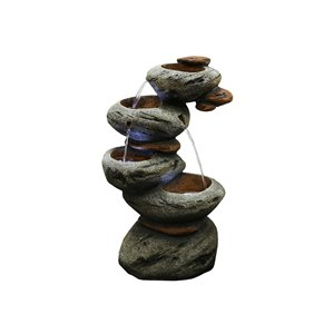 Hi-Line Gift 4-Tier Stone Fountain with LED Lights
