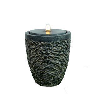 Hi-Line Gift Large Stone Fountain with Flame-Effect LED