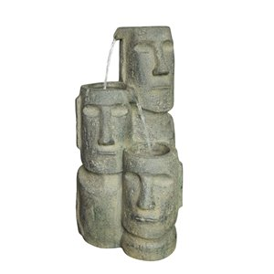 Hi-Line Gift Easter Island Heads Fountain with LED Lights