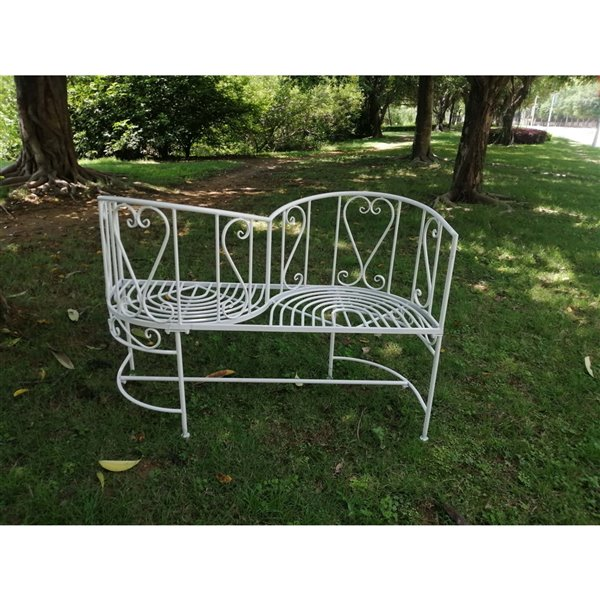Hi-Line Gift Vis-A-Vis Chair Bench - White