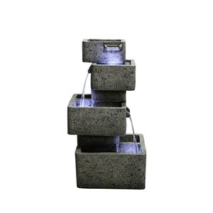 Hi-Line Gift Multilevel Concrete Cascading Fountain with LED Lights