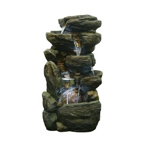 Hi-Line Gift Multi-level Rock Fountain with LED Lights