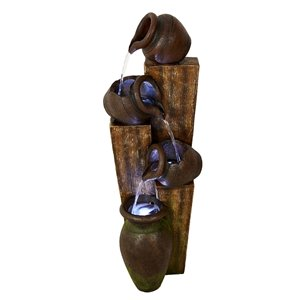 Hi-Line Gift Rustic Pouring Jugs Fountain with LED Lights