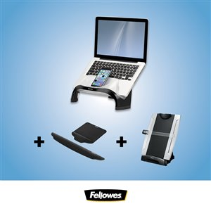 Ensemble pour bureau Ergo de Fellowes, rehausseur d'ordinateur portable, tapis de souris et de clavier coussinés, porte-copie