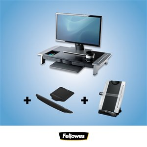 Ensemble pour bureau Ergo de Fellowes, rehausseur d'écran, tapis de souris et de clavier coussinés, porte-copie