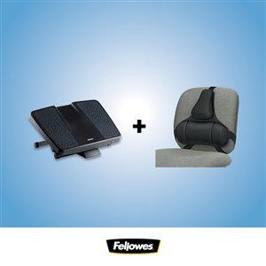 Ensemble pour bureau Ergo de Fellowes, repose-pieds, support pour dos
