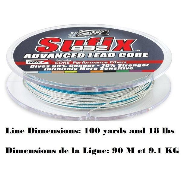 Fil de pêche Advance Lead Core de Sufix, 10 couleurs, 18 lb, 100 yards