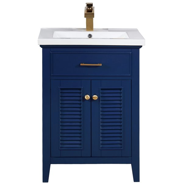 Design Element Cameron 24 In Blue Single Sink Bathroom Vanity With White Porcelain Top S09 24 Blu Rona