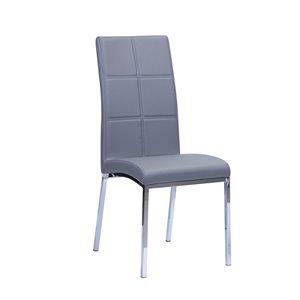 Chaise d'appoint contemporaine en similicuir Peyton de HomeTrend, gris, 2 pièces