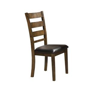 Chaise d'appoint traditionnelle Sansa de HomeTrend, vinyle brun, 2 pièces
