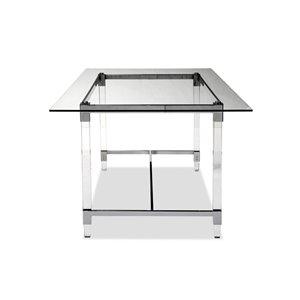 Table de salle à manger rectangulaire fixe Crystalle de HomeTrend, verre, blanc clair