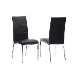 Chaise d'appoint contemporaine en similicuir Peyton de HomeTrend, noir, 2 pièces