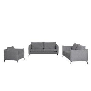 Ensemble de sofas en lin moderne Gardiner de HomeTrend, gris clair, 3 pièces