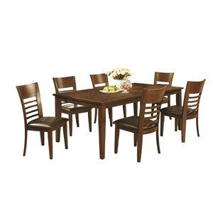 Table de salle à manger rectangulaire avec rallonge Brookville de HomeTrend, bois de placage, noyer