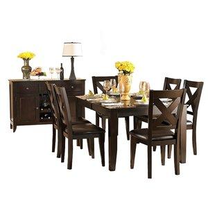 Table de salle à manger rectangulaire avec rallonge Crown Point de HomeTrend, bois de placage, marron
