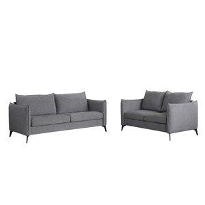 Sofa/causeuse moderne Gardiner de HomeTrend, lin, gris clair