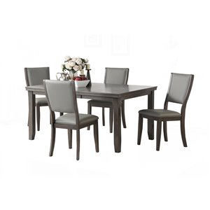 Table de salle à manger rectangulaire avec rallonge Eleanor de HomeTrend, bois de placage, gris