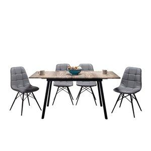 Table de salle à manger rectangulaire avec rallonge Algarve de HomeTrend, bois de placage, noir