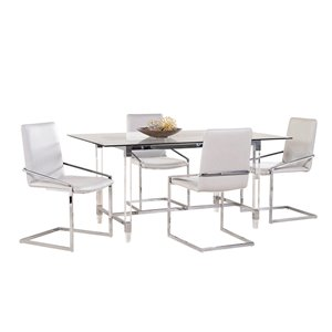 HomeTrend Crystalle Modern Dining Set with Rectangular Table - Clear White - 7-Piece