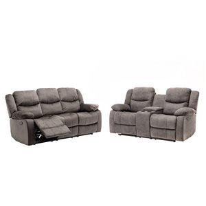 Sofa/causeuse inclinable moderne Reading de HomeTrend, polyester/mélange de polyester, gris pâle