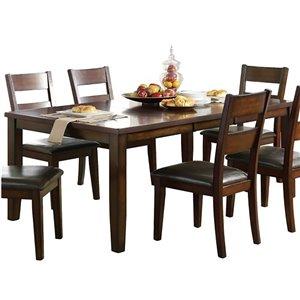 Table de salle à manger rectangulaire avec rallonge Mantello de HomeTrend, bois de placage, cerise