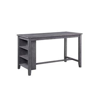 Table/dînette de salle à manger rectangulaire fixe Timbre de HomeTrend, bois de placage, gris