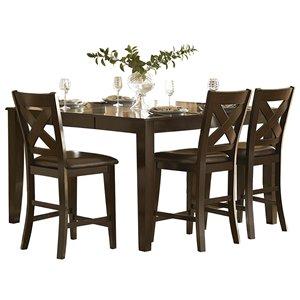 Table de salle à manger carrée avec rallonge Crown Point de HomeTrend, bois de placage, marron