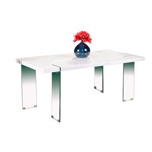 Table de salle à manger rectangulaire fixe Jodi de HomeTrend, résine, blanc