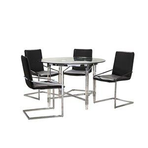 Ensemble de salle à manger avec table ronde Crystalle de HomeTrend, clair/blanc et noir, 5 pièces