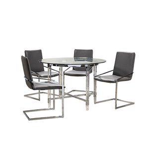 HomeTrend Crystalle Dining Set with Round Table - Clear/Grey - 5-Piece