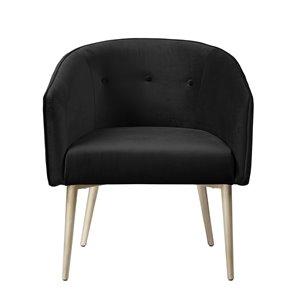 Chaise d'appoint moderne en velours Nikki de HomeTrend, noir