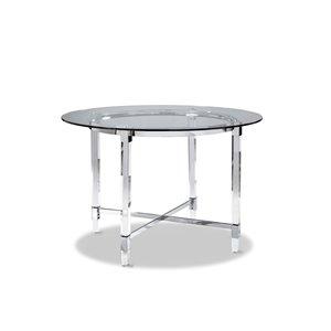 Table de salle à manger ronde fixe Crystalle de HomeTrend, verre, blanc clair