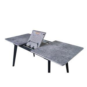 Table de salle à manger rectangulaire avec rallonge Arabicia de HomeTrend, bois de placage, noir
