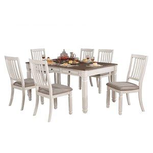 Table de salle à manger rectangulaire fixe Nesbitt de HomeTrend, bois de placage, blanc antique