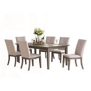 Table de salle à manger rectangulaire avec rallonge Felicity de HomeTrend, bois de placage, gris foncé