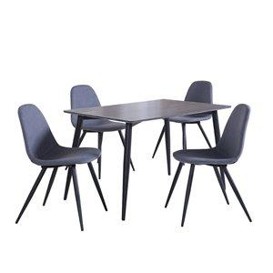 Table de salle à manger rectangulaire fixe Sami de HomeTrend, bois de placage, gris