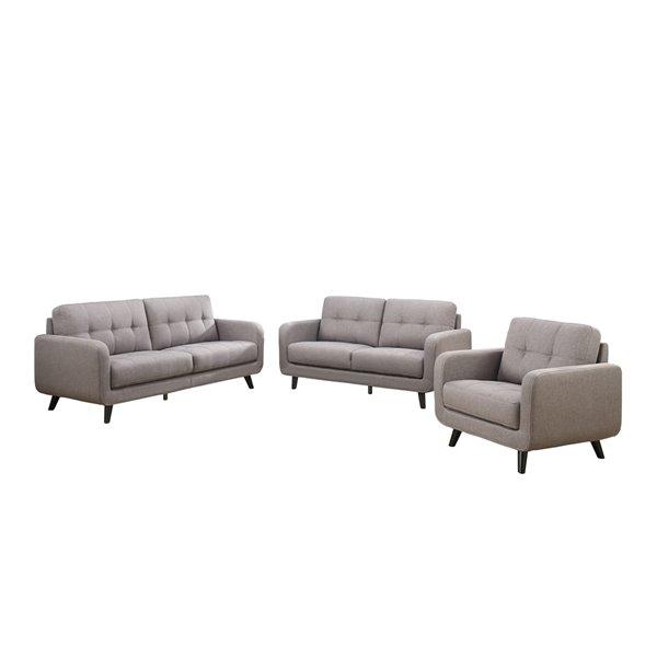 Ensemble de sofas mi-siècle Juneau de HomeTrend, polyester/mélange de polyester, gris pierre, 3 pièces