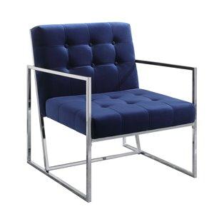 Chaise d'appoint moderne en velours Delia de HomeTrend, bleu marin
