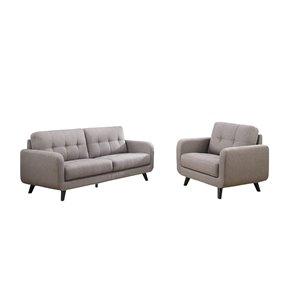 Ensemble de sofas mi-siècle Juneau de HomeTrend, polyester/mélange de polyester, gris pierre