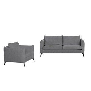 Ensemble de sofas en lin moderne Gardiner de HomeTrend, gris