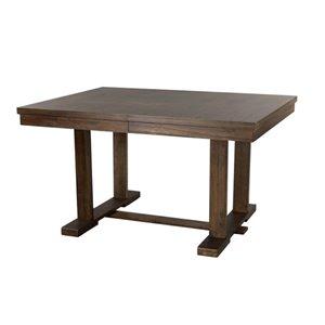 Table de salle à manger rectangulaire avec rallonge Weiland de HomeTrend, bois de placage, brun rustique clair