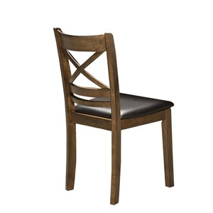 Chaise d'appoint traditionnelle Pandora de HomeTrend, vinyle brun, 2 pièces