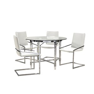 HomeTrend Crystalle Dining Set with Round Table - Clear White - 5-Piece