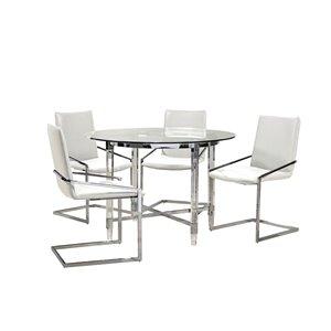 Ensemble de salle à manger avec table ronde Crystalle de Mazin Industries, clair/blanc, 5 pièces