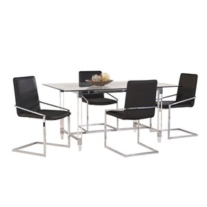 HomeTrend Crystalle Dining Set with Rectangular Table - Clear/Black - 7-Piece