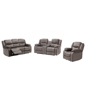 Mazin Industries Reading Modern Reclining Sofa - Polyester/Polyester Blend - Soft Grey - Set of 3